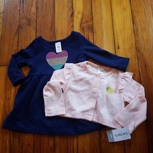 Baby Girl's Heart Dress and Cardigan Set 6 Months